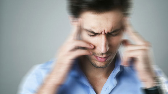 man showing dizziness and vertigo